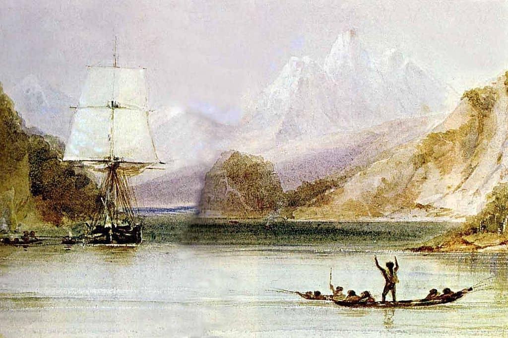 HMS Beagle i Ildlandet (udsnit), malet mellem 1831 og 1836.